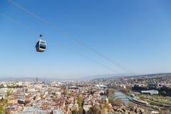 Kabelbil över Tbilisi Arkivbilder