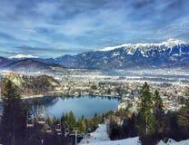 Kabelbil, blödd sjö, Slovenien Fotografering för Bildbyråer