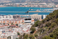 Kabelbil i staden av Gibraltar Arkivfoton