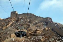 Kabelbil på Badaling den stora väggen, Kina Royaltyfria Foton