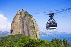 Kabelbil på Sugar Loaf Mountain i Rio de Janeiro, Brasilien Fotografering för Bildbyråer