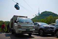 Kabelbil på tornet för N Seoul, Seoul, Sydkorea Arkivbilder