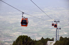 Kabelbil till den Bagbasi platån från det Denizli centret Arkivbilder