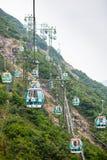 Kabelbilar över tropiska träd i Hong Kong Arkivbild