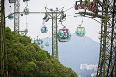 Kabelbilar över tropiska träd i Hong Kong Royaltyfri Foto