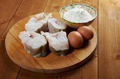 Kabeljauwlapje vlees stock afbeelding