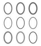 Kabelreeks ovale kaders Inzameling van dikke en dunne bor Stock Afbeelding