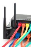 Kabels aangesloten routers Royalty-vrije Stock Foto
