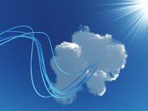 Kabels die met wolk worden verbonden Stock Foto's