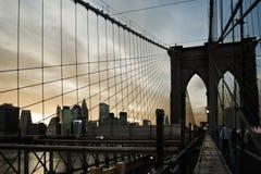 Kabels van de Brug van Th Brooklyn in New York Stock Fotografie