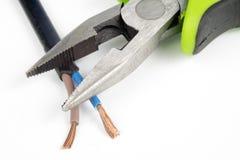 Kabelschneider und elektrischer Isolierdraht Zubehör für wählt Lizenzfreie Stockfotos