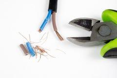 Kabelschneider und elektrischer Isolierdraht Zubehör für wählt Stockfotos