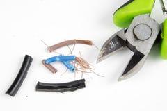 Kabelschneider und elektrischer Isolierdraht Zubehör für wählt Stockbilder