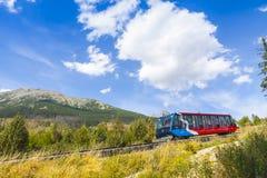 Kabelspoor in Hoge Tatras, Slowakije stock foto