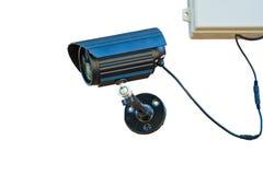 Kabeltelevisie-camera die op voor veiligheid letten 24 uren Stock Foto's