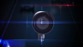 Kabeltelevisie-camera's over een bezige weg royalty-vrije illustratie