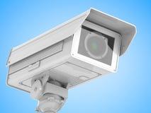 Kabeltelevisie-camera of veiligheidscamera op blauwe achtergrond Royalty-vrije Stock Afbeelding