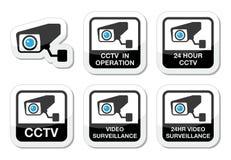 Kabeltelevisie-camera, Video geplaatste toezichtpictogrammen vector illustratie