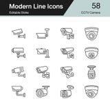 Kabeltelevisie-camerapictogrammen Moderne reeks 58 van het lijnontwerp Voor presentatie, royalty-vrije illustratie