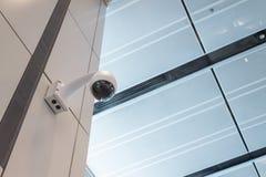 Kabeltelevisie-de muurplafond van de Veiligheidscamera Stock Foto's