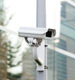 Kabeltelevisie-en veiligheidscamera die eruit zien registreren stock foto