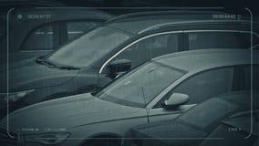 Kabeltelevisie Geparkeerde Auto's in Regenachtig Weer stock footage