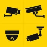 Kabeltelevisie-geplaatste pictogrammen Stock Afbeelding