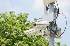 Kabeltelevisie in groen park voor het letten van op veiligheid stock fotografie