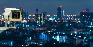 Kabeltelevisie met het Vertroebelen van Stad op achtergrond Royalty-vrije Stock Foto's