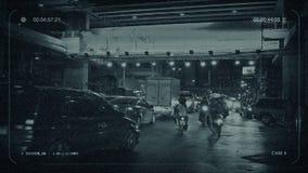 Kabeltelevisie-Nachtverkeer in Bangkok stock videobeelden