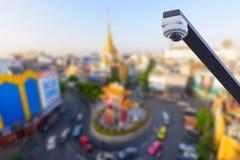 Kabeltelevisie in stad/de stadsmening van kabeltelevisie en van het onduidelijke beeld Royalty-vrije Stock Foto's