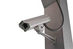 Kabeltelevisie van de veiligheidscamera op trap isoleert achtergrond Stock Fotografie