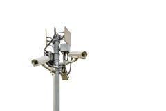 Kabeltelevisie-veiligheid op wit wordt geïsoleerd dat Stock Foto's