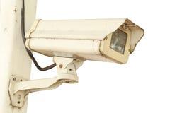 Kabeltelevisie-veiligheidscamera op witte achtergrond Royalty-vrije Stock Afbeelding