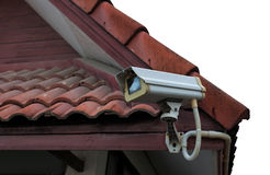 Kabeltelevisie-veiligheidscamera openlucht royalty-vrije stock foto's