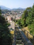 Kabelvervoer van Paradiso tot bovenkant van Monte San Salvatore, Lugano, Zwitserland Royalty-vrije Stock Foto's