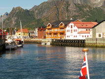 Kabelvoag's docks. Lofoten islands, norwegian arctic sea stock photo