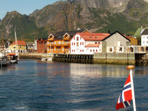 Kabelvoag's port. Lofoten islands, norwegian arctic sea stock photography