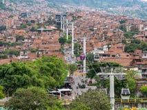 Kabelwagen of gondel in Medellin, Colombia stock foto's