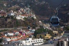 Kabelwagen over Funchal Madera Stock Foto's