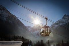 Kabelwagen in Ski Resort stock foto's