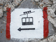 Kabelwagenteken op een rots Royalty-vrije Stock Foto