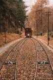 Kabelwagentram die door de heuvels naar het kasteel van Heidelberg gaan royalty-vrije stock foto