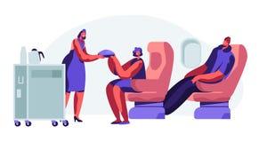 Kabin av niv?n med stewardessen och passagerare, mattid i ekonomiklass Kvinna man p? platser Lyxfnask med matvagnen i salong stock illustrationer