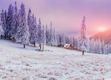 Kabin i bergen i vinter royaltyfri bild