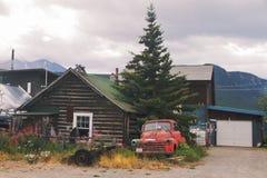Kabin i Carcross - Yukon - Kanada Arkivfoton