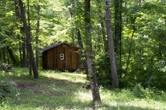 Kabin i skogen arkivbild