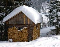 Kabin i snöig skog Royaltyfri Fotografi