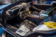 Kabina DeLorean czasu maszyna Przyszłościowy przywilej opierający się na DeLorean DMC-12 sportów samochodzie Z powrotem Zdjęcie Stock