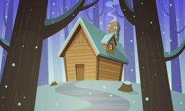 Kabina w drewnach - zima Zdjęcia Stock